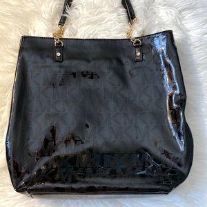 Michael Kors Signature Black Patent Leather Tote